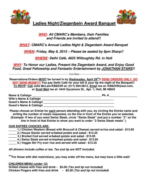2015 Ladies Night Banquet Order Flyer