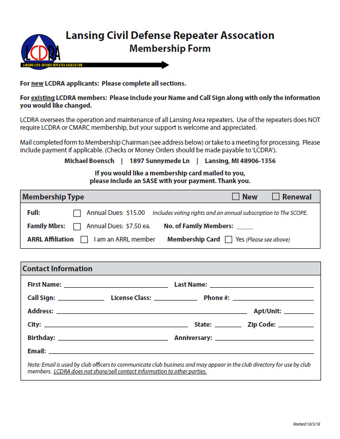 LCDRA Membership Form