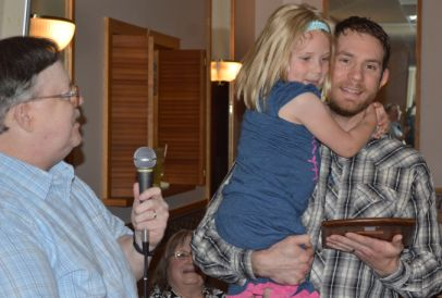 Dan Beuchert WX8MOJ with daughter Abigail receiving the 2014 Ziegenbein award